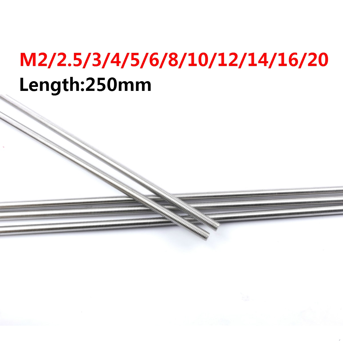 _ M14 M16 M20 резьбовой стержень с полной резьбой DIN975 304 крепежи из нержавеющей стали Серебряная длина 250 мм
