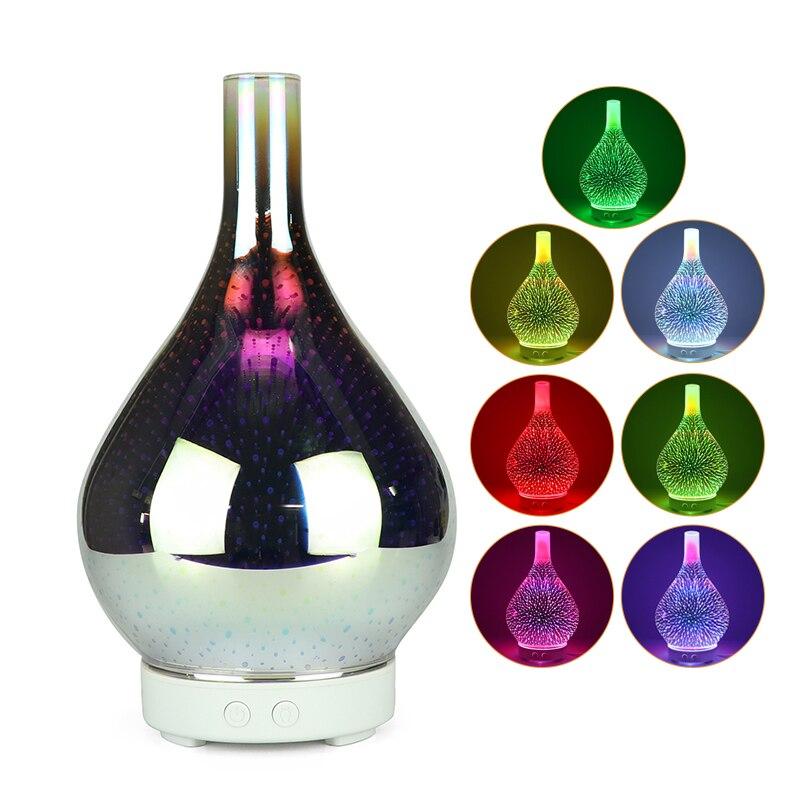 Стеклянный увлажнитель воздуха для ароматерапии с 7-цветным светодиодным ночным освещением 3D огненным ароматом, арома-диффузор для эфирных масел, распылитель тумана, ультразвуковой Hu