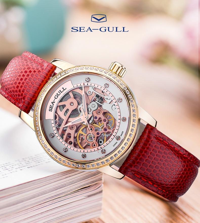 Seagull watch ladies mechanical watch 34mm fashion diamond female watch hollow dial 50m waterproof watch 719.403LK enlarge