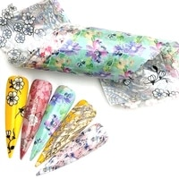 5 colorspack mixed flowers nail foils stickers for nails art decorations holographic floral designs transfer adhesive decals