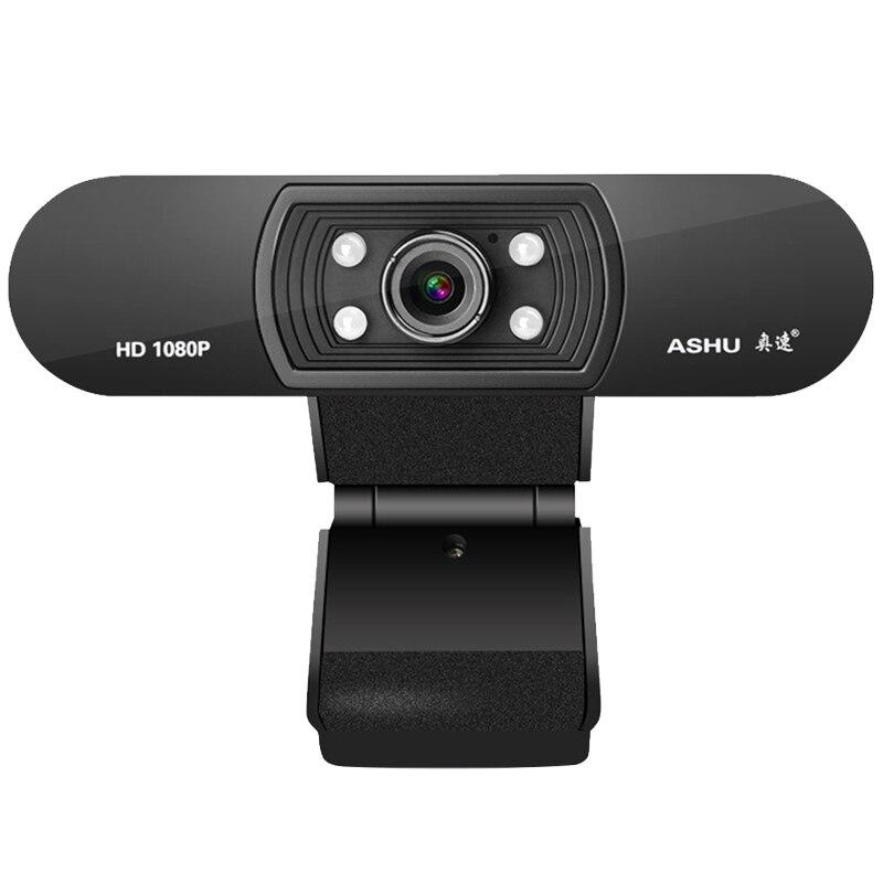 Ashu H800 كامل HD كاميرا ويب فيديو 1080P HD كاميرا USB كاميرا ويب التركيز للرؤية الليلية كاميرا ويب الكمبيوتر مع ميكروفون مدمج