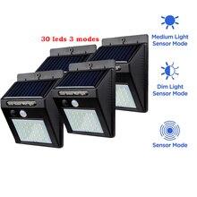 2/4 pièces 30 LED lampe solaire avec pôle de montage détecteur de mouvement extérieur lampe appliques murales éclairage pour lampes murales de jardin Lig