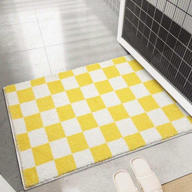Checkerboar فروي عدم الانزلاق الحمام حصيرة سميكة الحمام البساط ديكور المنزل ممسحة الأحذية عند الباب نوم سجادة أرضية