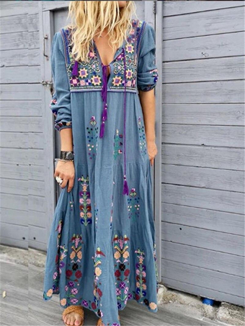 Women 2020 chic Summer Beach Boho Maxi Dress Ladies Floral Embroidery Long Dress Plus Size 4XL 5XL Beach vestidos de verano