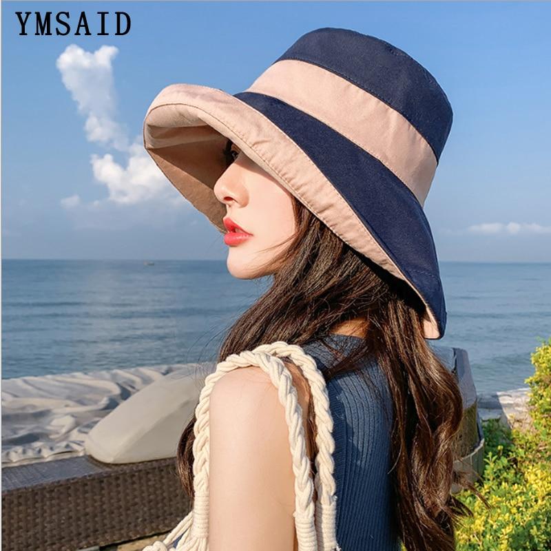 2020 NEW Fashion Sun Hat Summer Women Double-sided Foldable Cotton Sun Travel Beach Hats Wide Brim Sunscreen Female Bucket hat