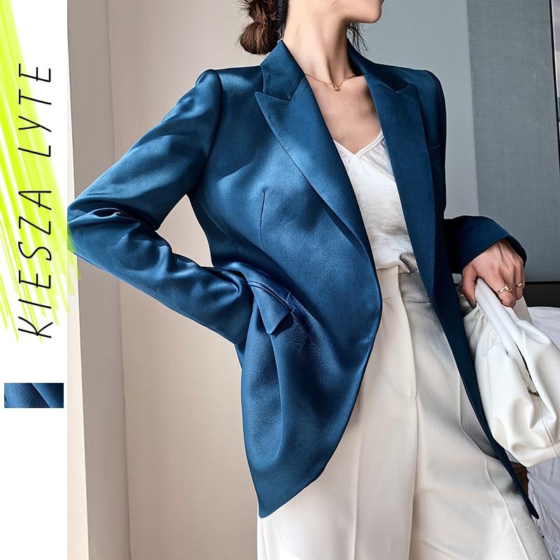 Blazer azul para mujer 2020 otoño moda estilo coreano de lujo satén traje chaqueta OL abrigo de trabajo prendas de vestir exteriores femeninas