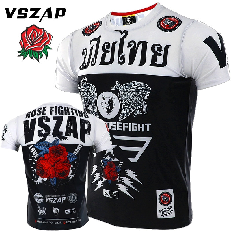 VSZAP combat sports combat Camiseta de manga corta de combate libre entrenamiento de fitness MMA aparecen hombres Thai boxeo para músculo