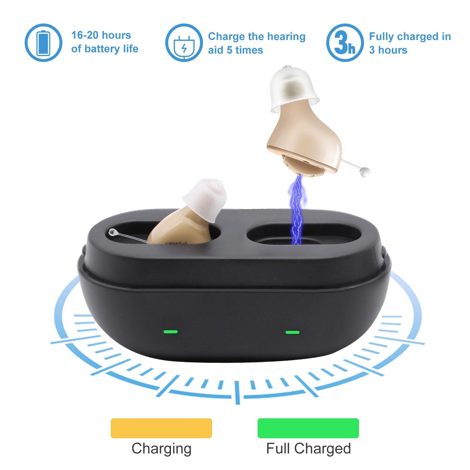 2021 ذكي 7 قنوات قابلة للشحن مساعدات للسمع صوت صغير جدا 111dB جهاز السمع غير مرئية تقليل الضوضاء للصمم
