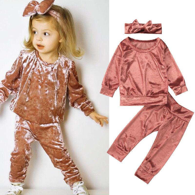 3PCS Kids Baby Girls Clothes Set Autumn Winter Velvet Sweatshirt T-shirt+Pants Outfits Tracksuit Toddler Infant Casual Costumes