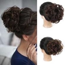 AILIADE-Chignon synthétique en caoutchouc pour filles   Chignon noir brun, faux cheveux élastique, Chignon Donut à cordon de serrage
