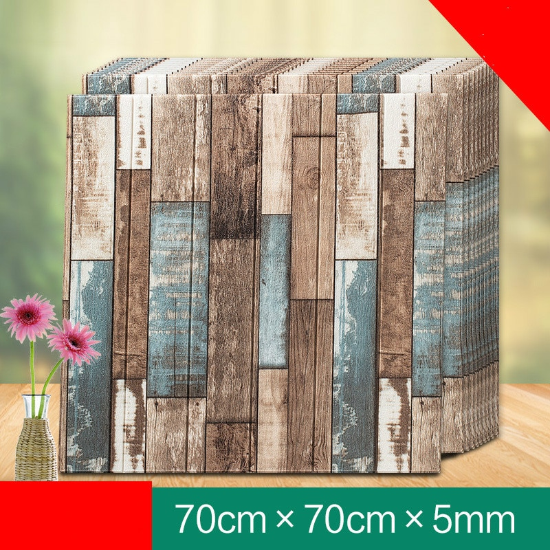 3D Brick PE Foam Wallpaper Panels Room Decal wood Decoration Embossed collision foam soft children's room TV background wall
