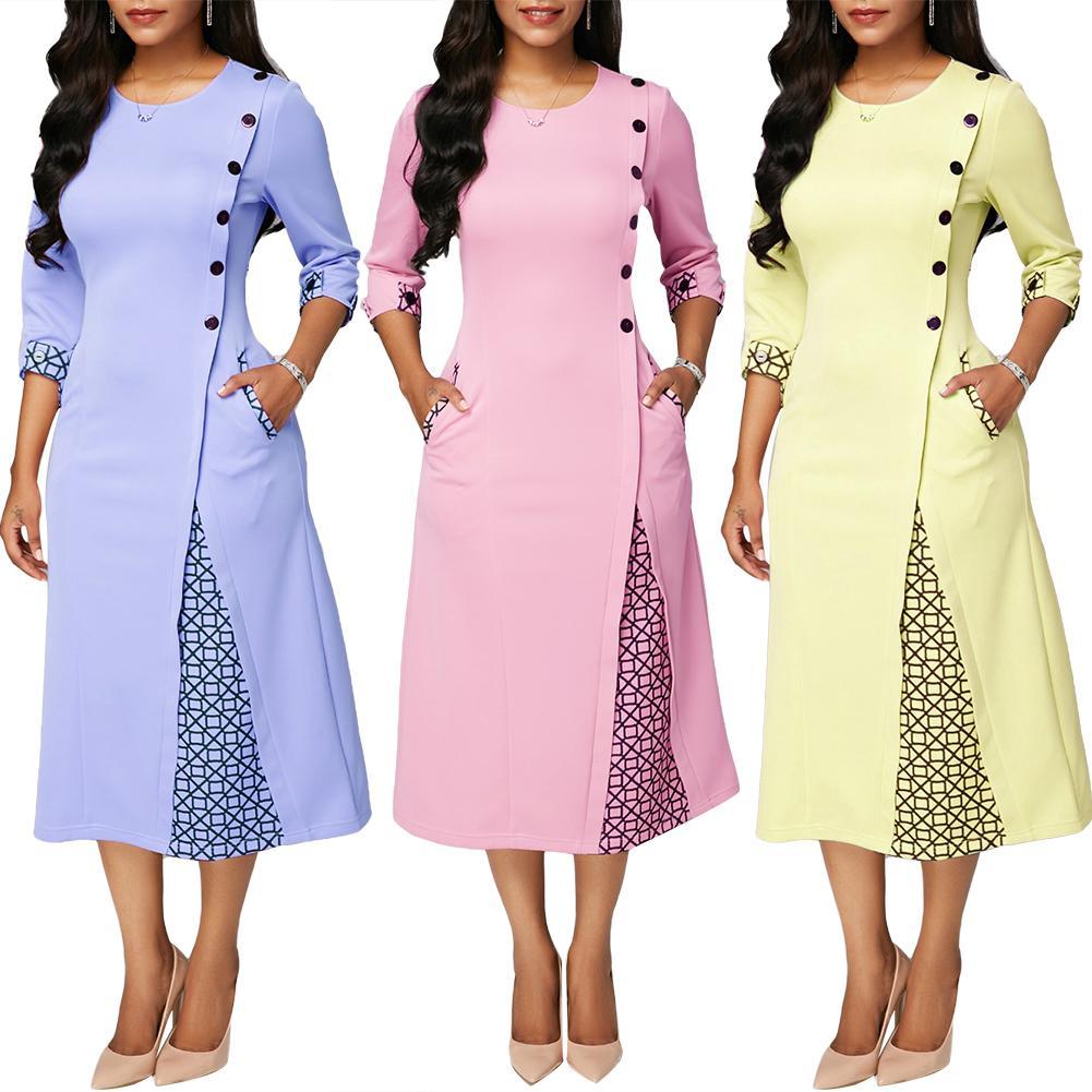 Hot apparel Plus Size Party Autumn Women Geometric Patchwork 3/4 Sleeve Midi Swing Dress