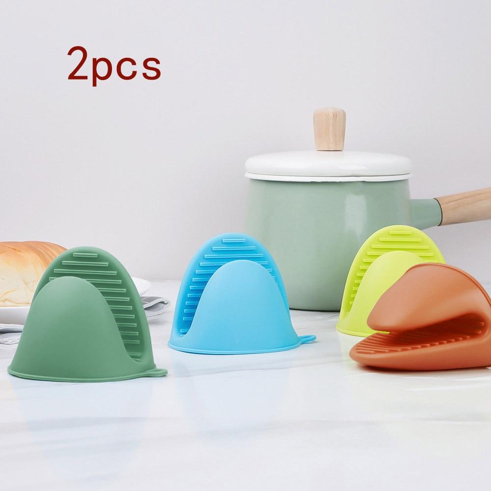 2PCS Silicone Anti-scalding Oven Mitts Microwave BBQ Gloves Insulation Non Stick Anti-slip Pot Bowel Holder Clip Kitchen Gadgets