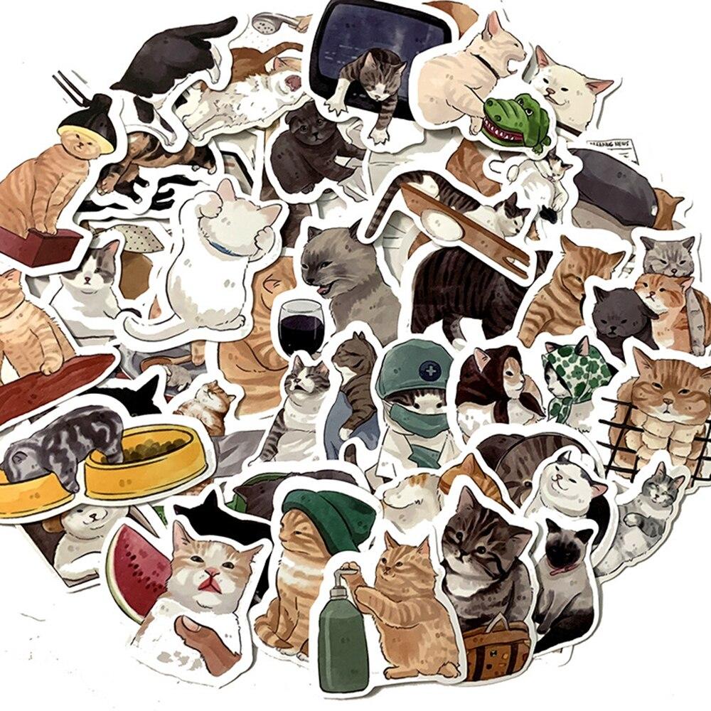 Стикеры в виде милых кошек и животных с граффити, 10/30/54 шт.