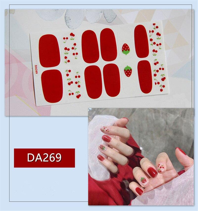 Lamemoria 14 consejos pegatinas multicolores de cubierta esmalte de uñas pegatina DIY decoración de Arte de uñas pegatinas impermeables para uñas manicura