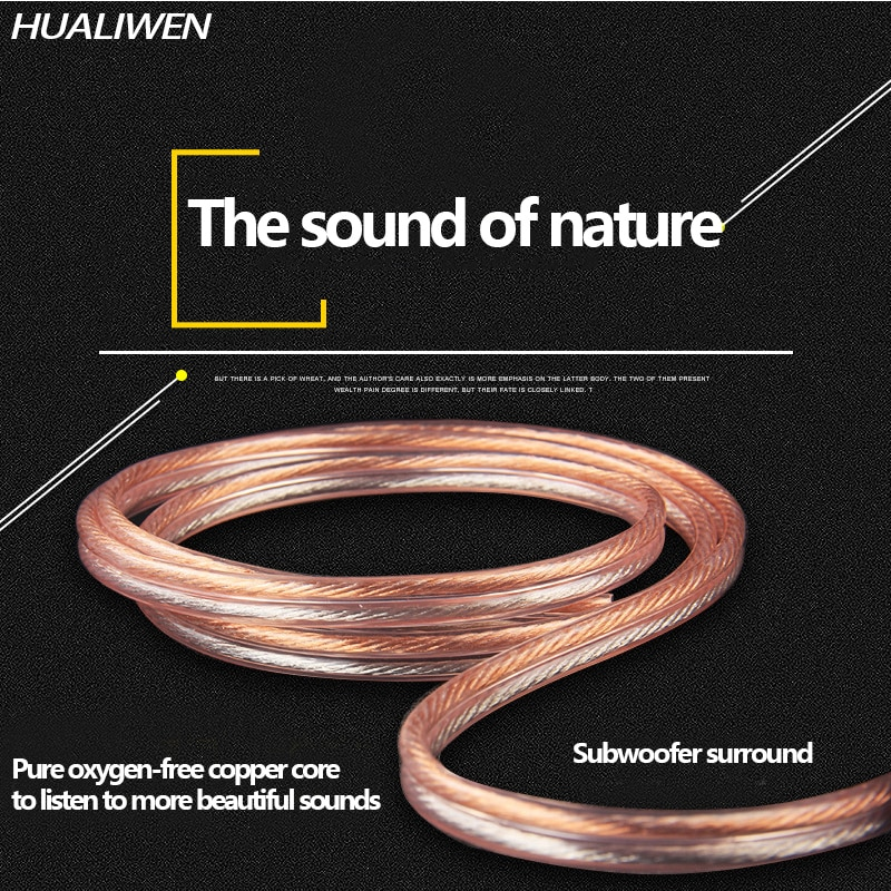 HUALIWEN DIY HIFI Audio Cable Oxygen Free Pure Copper Speaker Cable For Car Audio Home Theater Audio