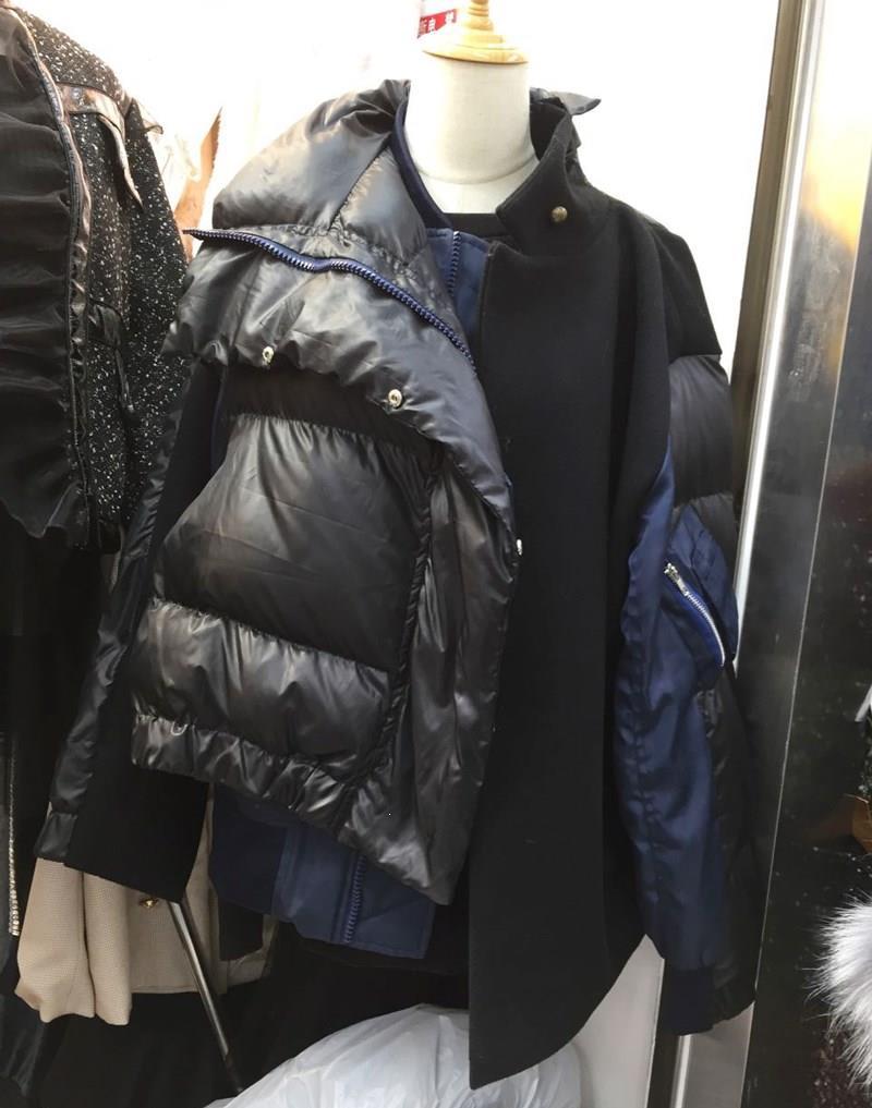 Inverno zíperes botões casaco quente mulher listrado algodão-acolchoado parka