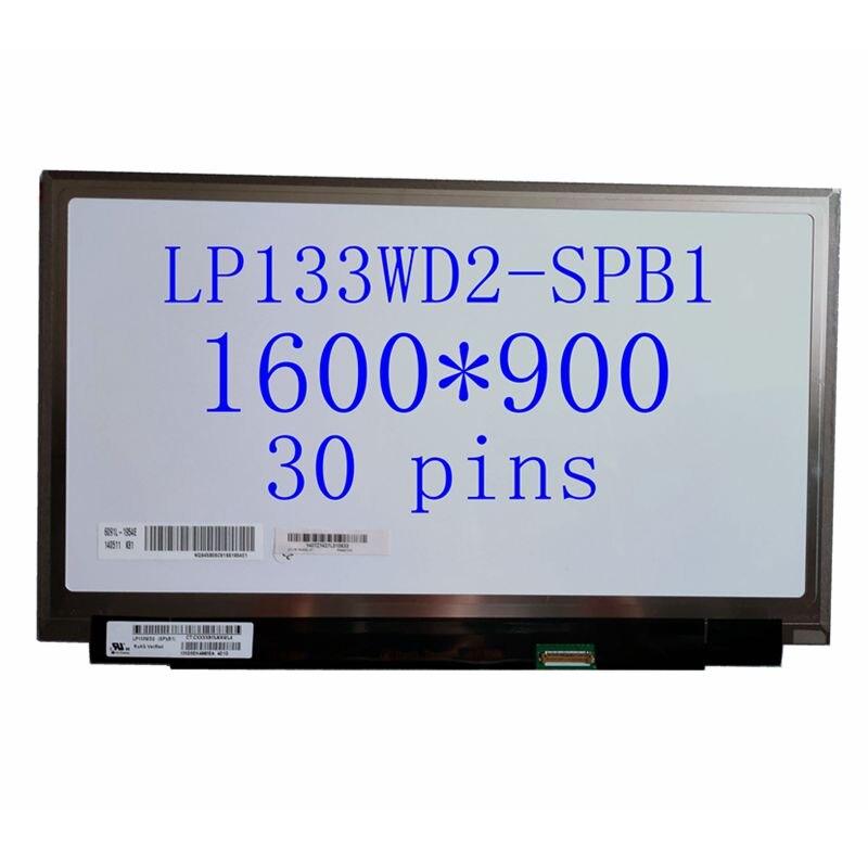 Nueva matriz de pantalla LED para ordenador portátil delgada de 13,3 pulgadas LP133WD2-SPB1 1600X900 IPS edp pantalla LCD mate de 30 pines