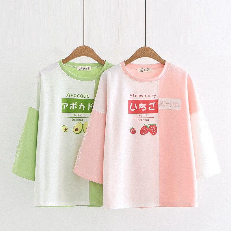 WXCTEAM قميص المرأة Harajuku الفراولة الأفوكادو قميص Kawaii اليابان نصف كم لعبة Neko Atsume القط الإناث العباءات الفتيات