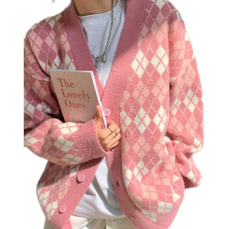 Japanese Plaid contrast V-Neck long sleeve sweater coat women's Hong Kong retro college style loose knit cardigan enlarge