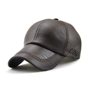 Autumn and winter outdoor warm hat European and American men PU leather new simple baseball cap warm cap 12965
