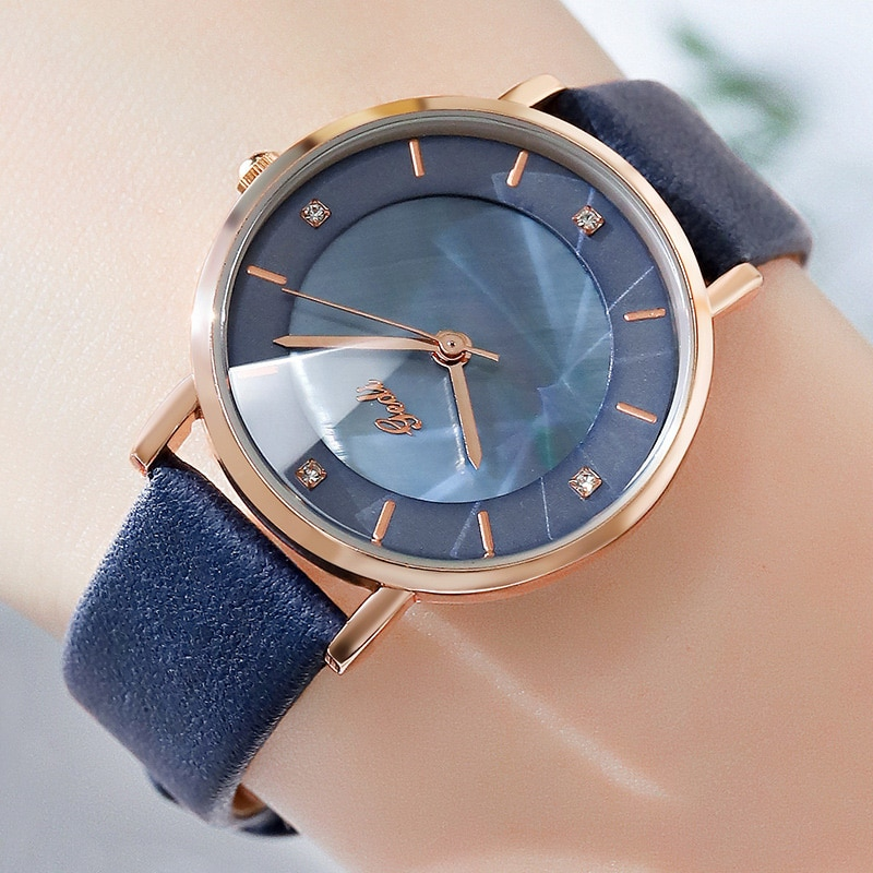 Simple Minimalism Ladies Watches Blue Fashion Trendy Genuine Leather Rose Gold Casual Business Quartz Wristwatch for Women