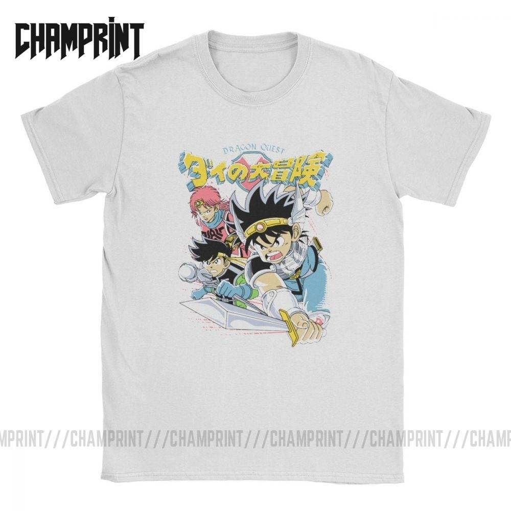Humor Dragon Warrior Dragon Quest Heroes T-Shirts for Men Cotton T Shirt Xi Rpg Game Toriyama Games Slime Short Sleeve Tees 6XL