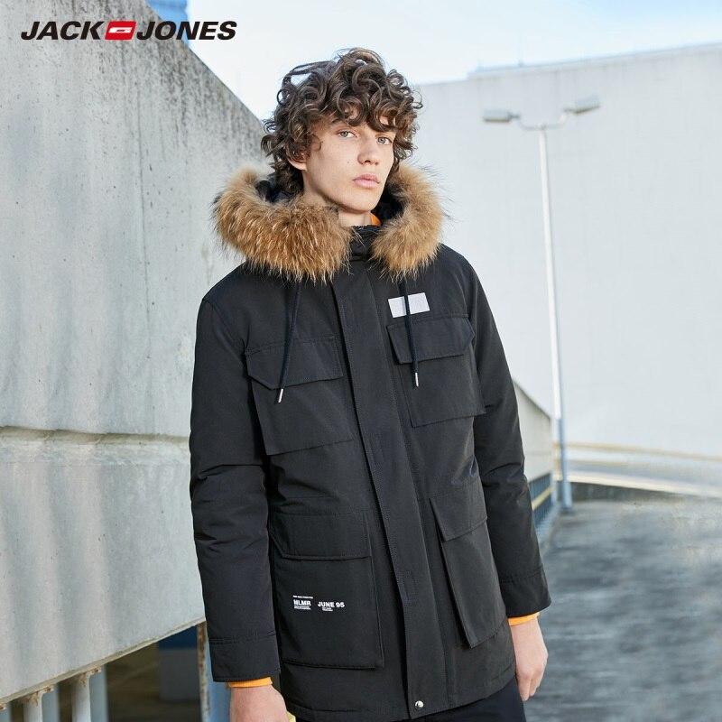 Jackjones inverno gola de pele masculina com capuz meados de comprimento parka casaco longo acolchoado jaqueta estilo carga básica 219309518