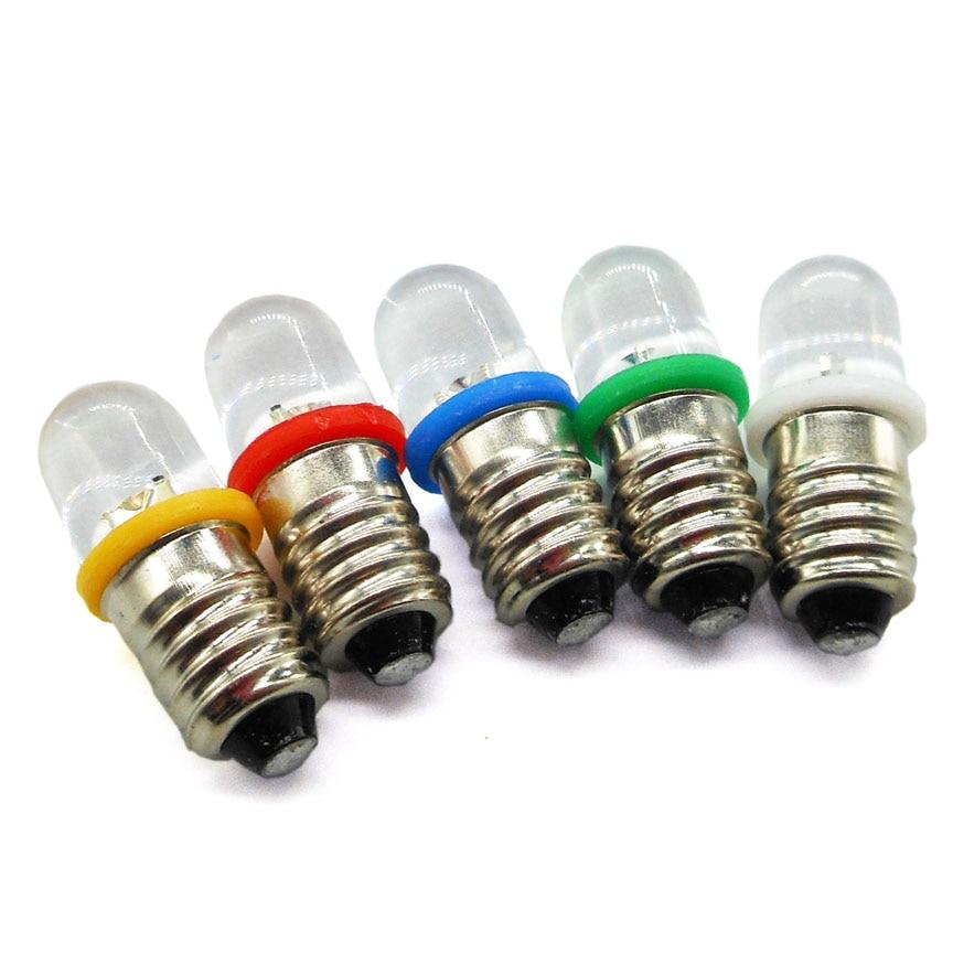 Bombilla de rosca E10, lámpara indicadora de diodo emisor de luz LED, 3v 3,8 v 4,5 v 6,3 v 8v, pequeñas cuentas de luz experimentales