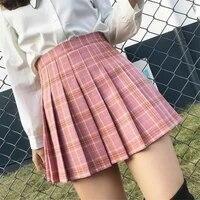 plaid summer women skirt 2020 high waist stitching student pleated skirts women cute sweet girls dance mini skirt