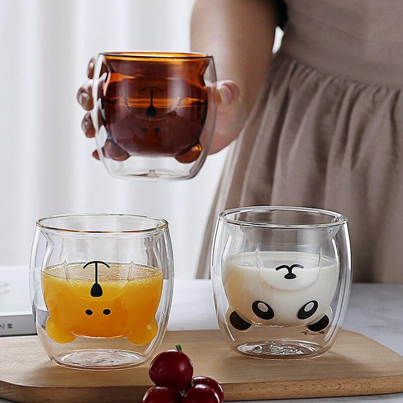 260/300ml Doppel Wärme-beständig Glas Tasse, Panda Hund Tier Doppel Glas Kaffee Tasse, weihnachten Geschenk, Schöne Frühstück Milch Tasse