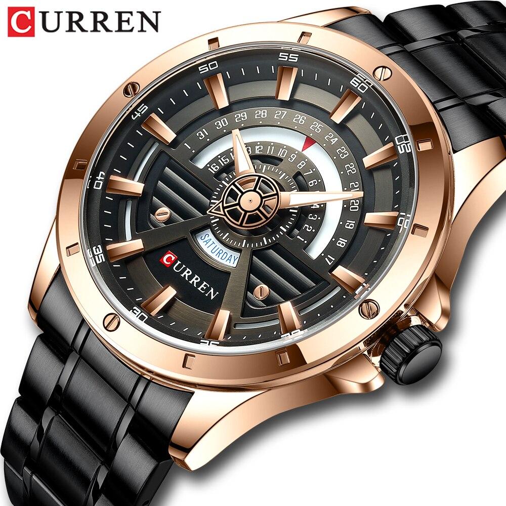 CURREN Luxury Black Golden Men Quartz Watch Stainless Steel Waterproof Mens Wristwatch Casual Sports Watches Luminous Date Clock