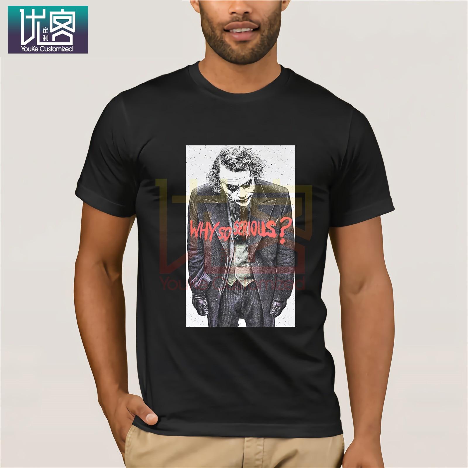 JOKER camiseta BATMAN para hombre por qué tan serio LOGO PRIMARK algodón camiseta ropa actual Popular camiseta cuello redondo 100% camisetas de algodón
