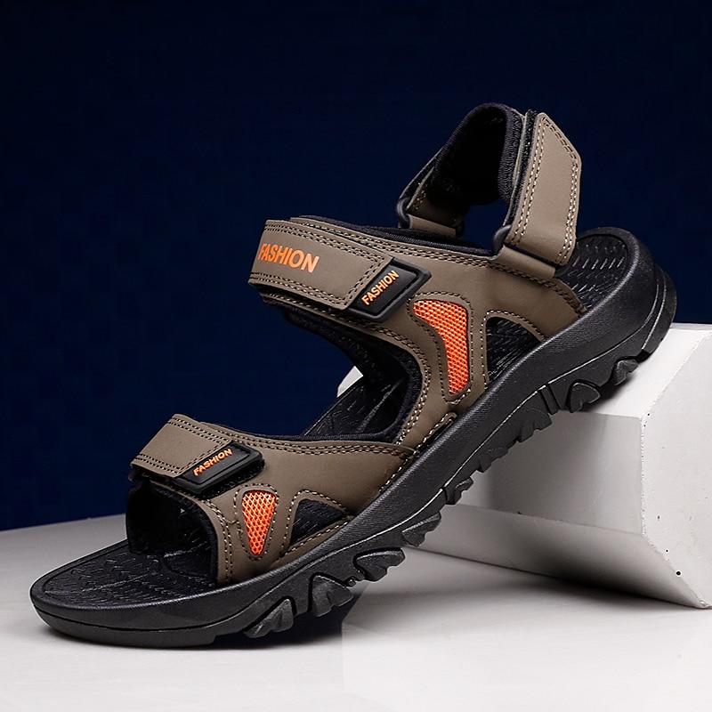 رجّالي الصنادل حذاء كاجوال بفتحات تهوية عدم الانزلاق أحذية رياضية مريح موضة في الهواء الطلق فلكرو النعال الشاطئ الأحذية