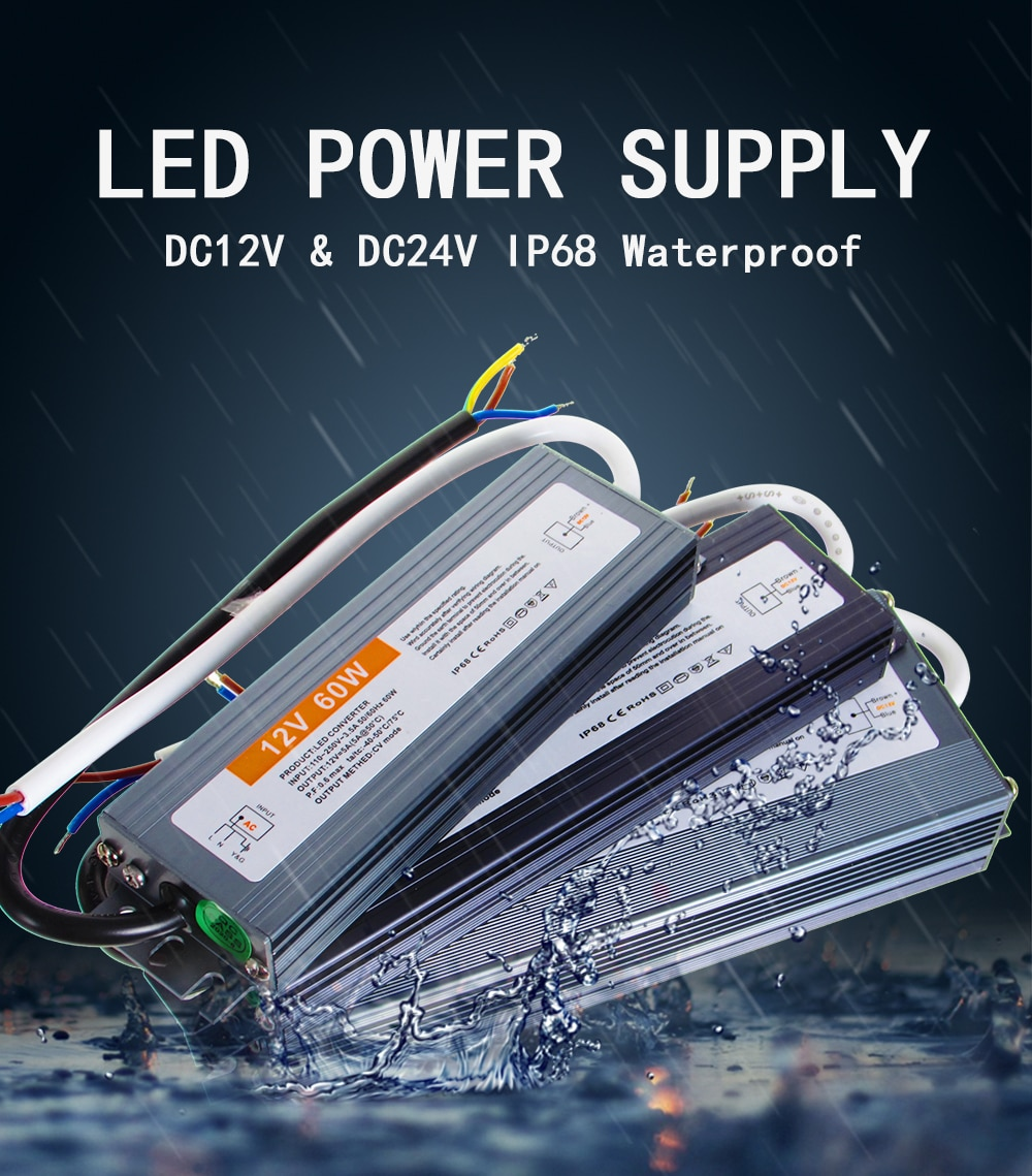 AC DC Transformers 12V 24V Power Supply 12 24 V Volt IP67 IP68 Outdoor Waterproof AC-DC 220V TO 12V10W-400W