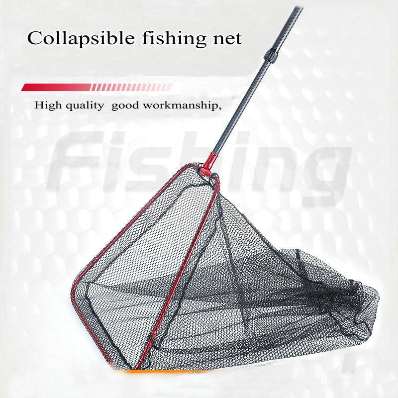 Портативная рыболовная сеть, самая легкая Силиконовая сетка, прочная каркас из углеродистой стали, складная снасть для ловли нахлыстом