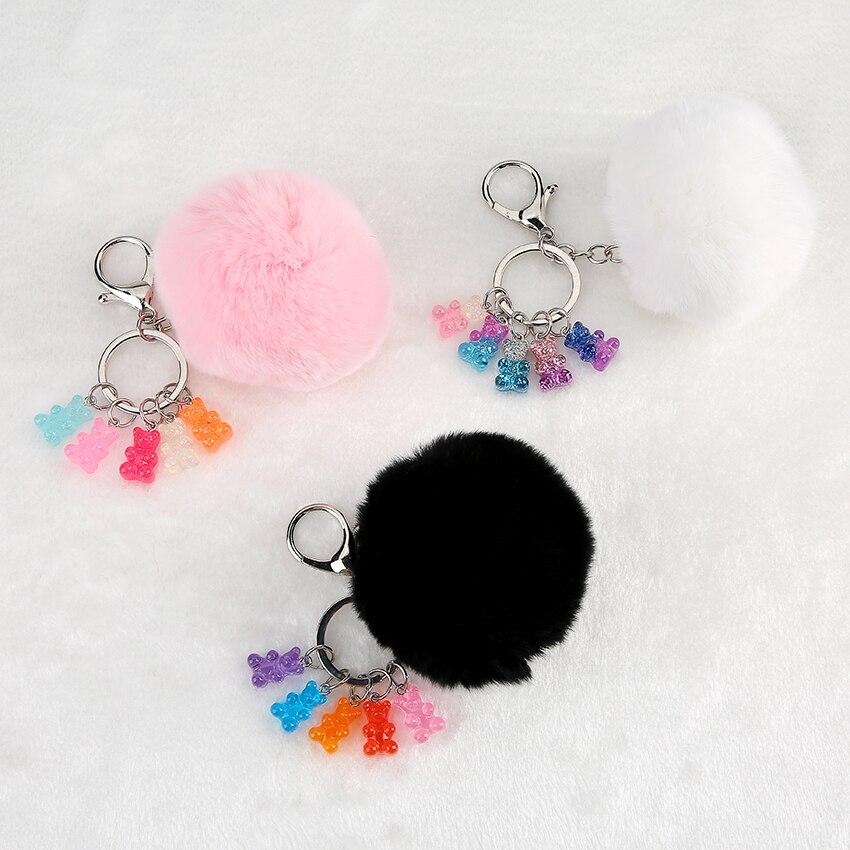 1PC  Fur Pom Pom ball Keychain gummy bear keychain fluffy fur ball keyring handbag charms for woman