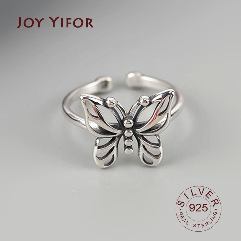 Реальные-925-Стерлинговое-Серебро-геометрической-формы-в-виде-бабочек-винтажное-регулируемое-кольцо-минималистский-ювелирные-украшения-дл