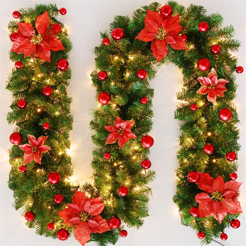 Fashionable Christmas Rattan wreath 2.7M LED Light Flower Light Strip ornament flower band holiday decoration