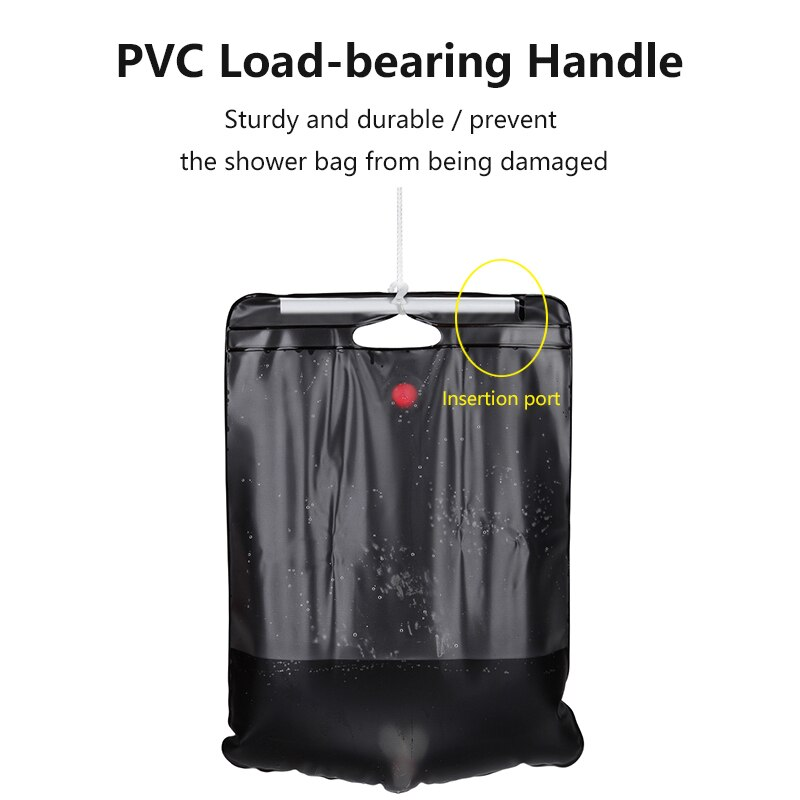 Bolsa de ducha Solar al aire libre 20L, bolsa de baño de viaje para acampar, senderismo, agua caliente portátil
