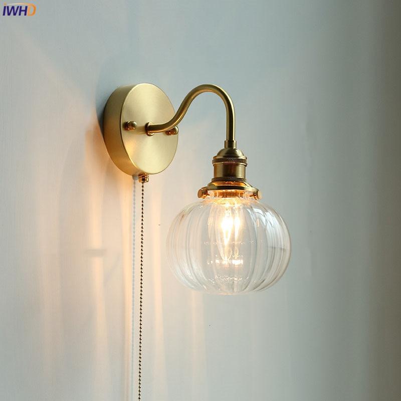 IWHD الشمال مرآة حمام ليد تركيب المصابيح سحب سلسلة التبديل الإضاءة المنزلية النحاس الزجاج نوديرن الجدار مصباح الشمعدان لامبارا باريد