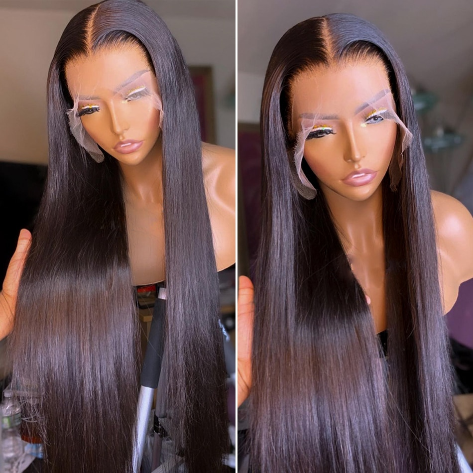 Bone Straight Lace Front Wig Human Hair Wigs For Women 30 40 Inch 250% Density Hd Transparent Lace Frontal Brazilian Closure Wig
