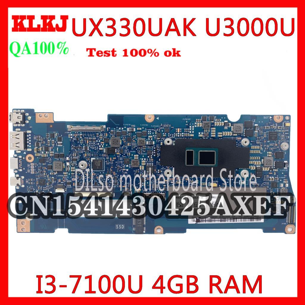 KLKJ UX330UAK اللوحة ل ASUS UX330U UX330UA UX330UQR UX330UN U3000U اللوحة المحمول الأصلي i3-7100u 4GB 100% اختبار