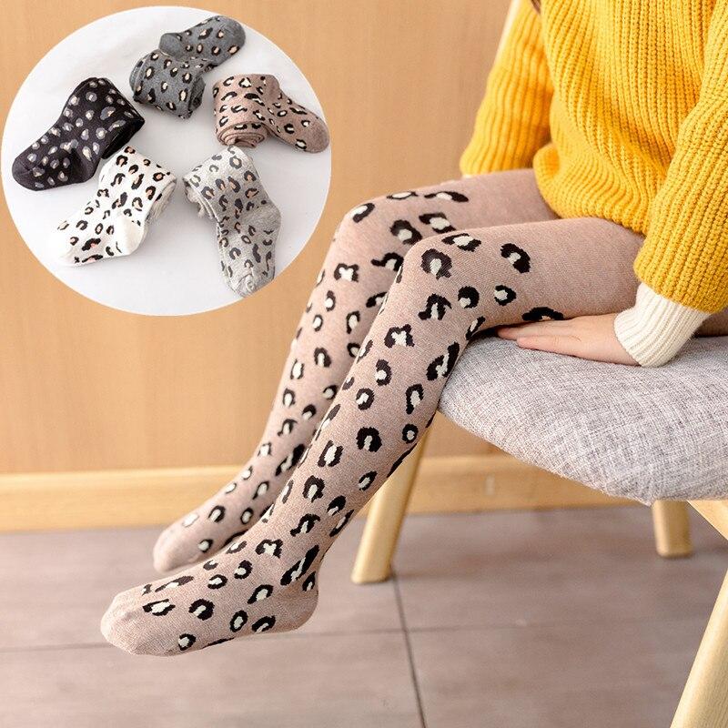 Medias de primavera otoño para niñas, pantimedias de leopardo de algodón para niñas pequeñas, medias de tejer Chico, ropa interior