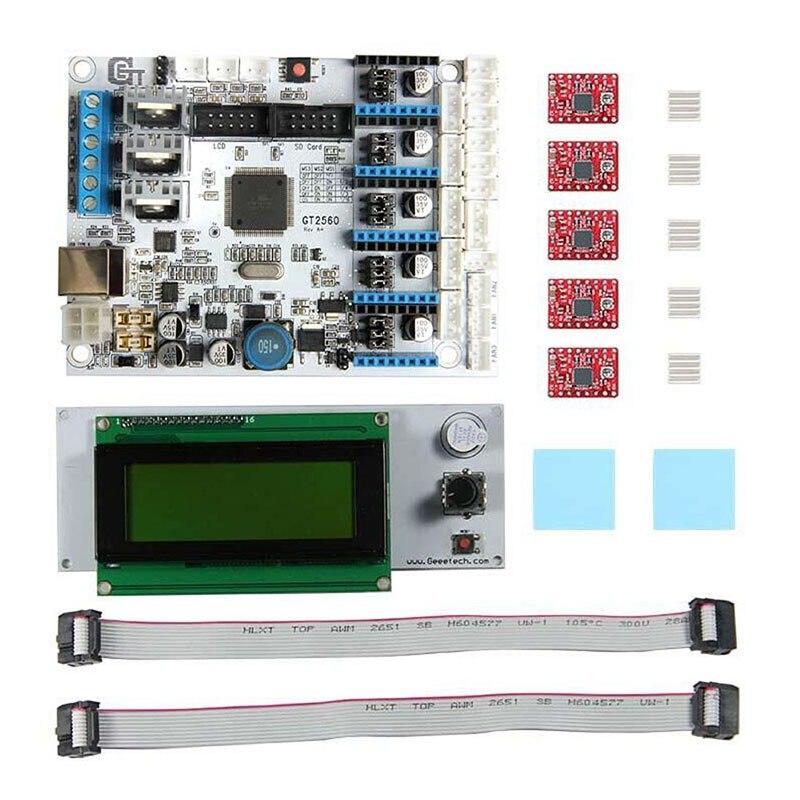 Placa de módulo, Kit de placa base de impresora 3D GT2560 A4988, controlador LCD2004, placa de Control NC99