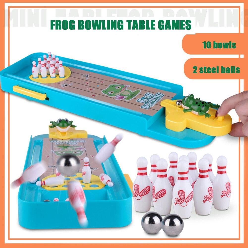 Mini Rana bolos mesa escritorio juegos interacción padre-hijo lanzador juguetes descompresión pelotas juegos