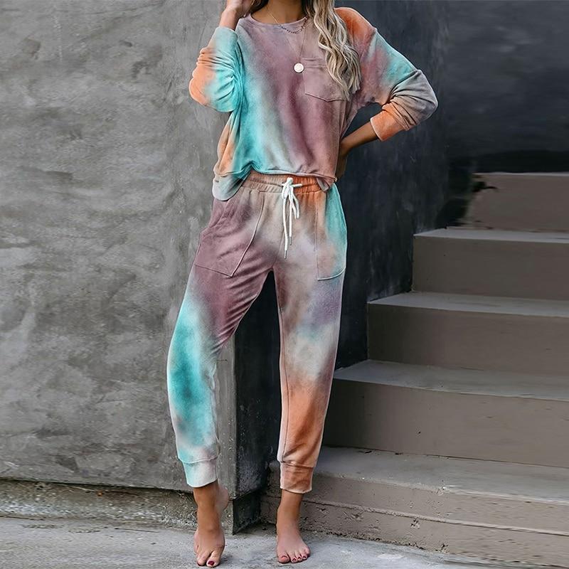 2020 Autumn Tie Dye pajama set women Sleep Wear Sleepwear Set Pjs Women's Pajamas Set Lounge Wear Sl