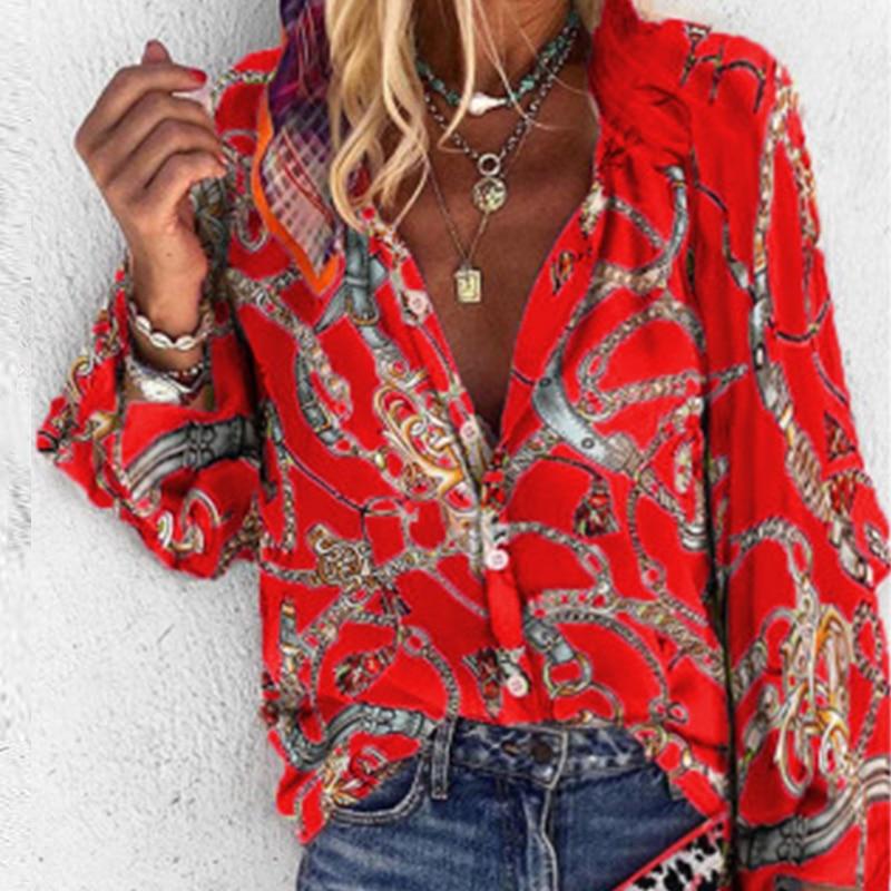 Blusa sexi para mujer de manga larga con cuello en V, tapeta holgada con estampado de botones, camisa de Otoño de talla grande, Tops, camisas, blusas, ropa de calle