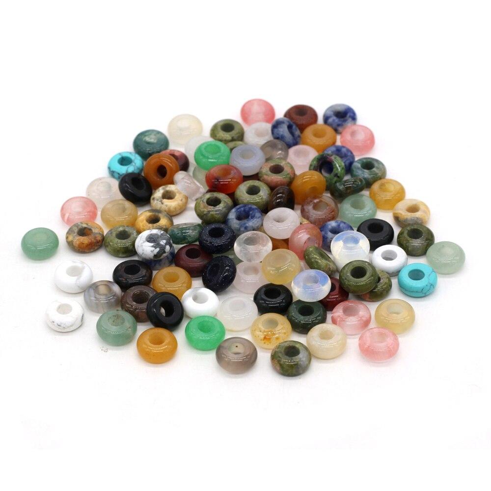 Natürliche semi precious stein big loch bead Abacus perlen form Für handgemachte Paket verkauf 4x10mm