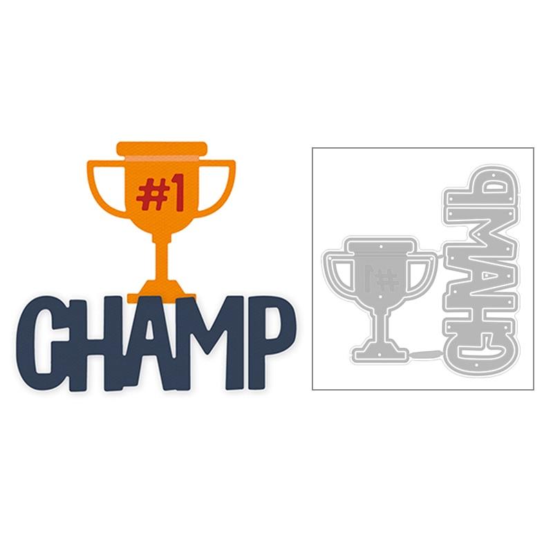 2020 quente novo campeão troféu capital uppercase palavra champ metal corte dados folha e scrapbooking para fazer cartão corte sem selos